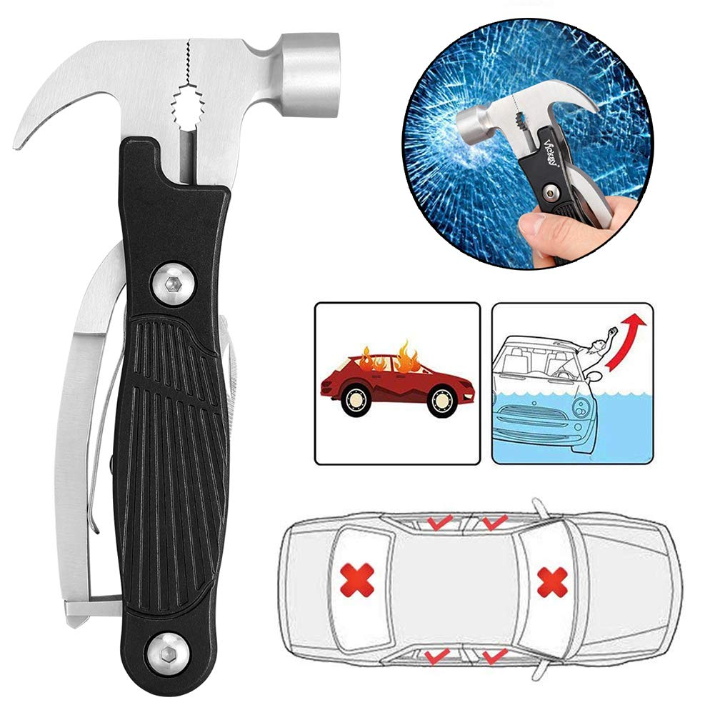 Multitool Hammer, 12 in 1 Multi tool Stainless Steel Emergency Car Survival Kit Outdoor- Camping Tool With Hammer, Saw,Knife, Screwdriver, Bottle Opener -Best Father's Day Gift(Black)