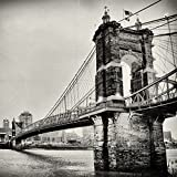 Cincinnati Roebling Suspension Bridge Black and