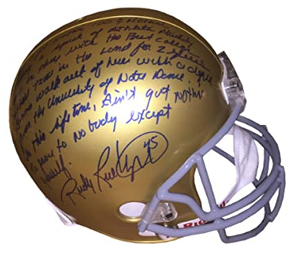 58aa96b5961 Image Unavailable. Image not available for. Color  Rudy Ruettiger Signed  Autograph Notre Dame Fighting Irish Full Size Replica Helmet 5 Foot Nothing  insc