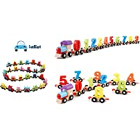 FunBlast Wooden Magnetic Alphabet and Digital Colorful Train   Educational Model Vehicle Toys  ABCD and 123 Toys for Kids.