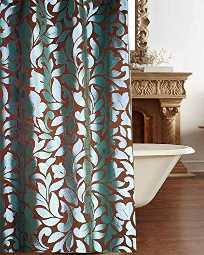 "Blue floral scroll faux silk fabric shower curtain button holed 72"" square"