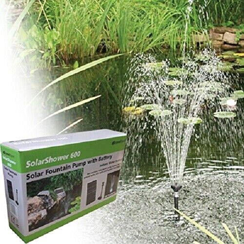 Solar Fountain Pump 158GPH w/Battery Back-up and LED Lights, Water Garden Ponds