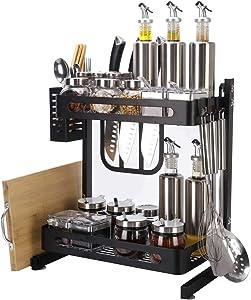 Atmama Spice Rack Organizer,2-Tier Bathroom Countertop Organizer, Stainless Steel Kitchen Rack Organizer Counter Storage Shelf,Black