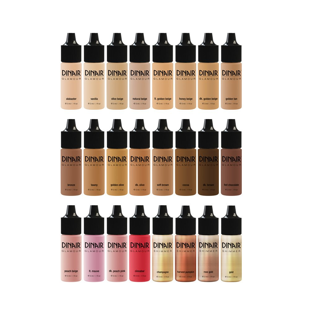 24pc Small Bottles Airbrush Makeup Foundation, Blush, Highlighter MINI Bottle Set | Artists Travel Kit: All Shades Fair Medium Tan Dark Master Collection | by Dinair