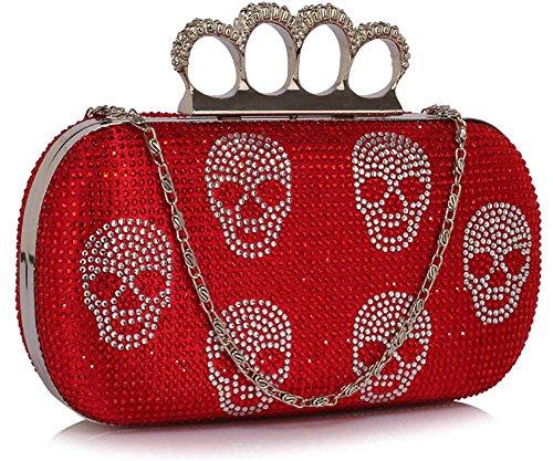 Box Clutch Bag Ladies Sparkly Beaded Skull Evening Handbag Designer With Chain New Design Design 1 - Red