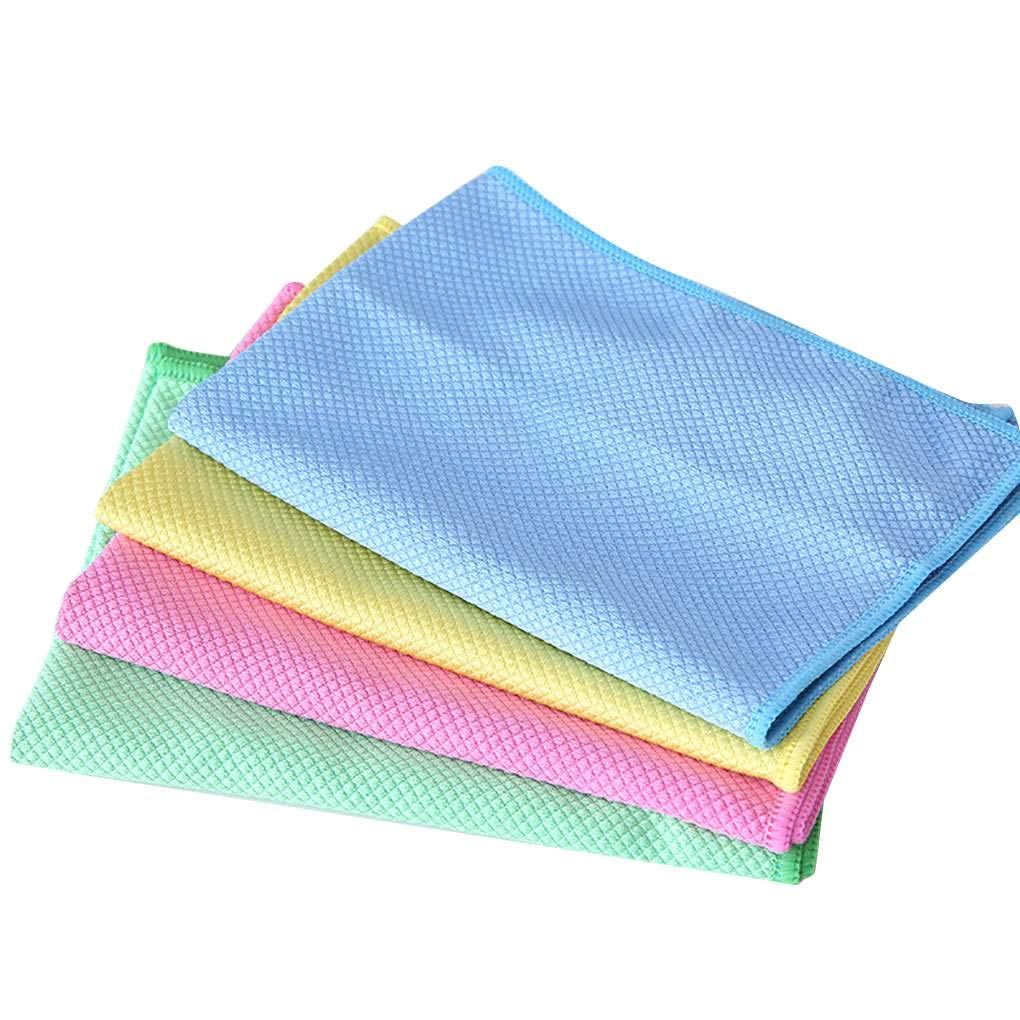 KOROWA 4PCS Microfiber Glass Cleaning Cloth Lint/Scratch Free Dish Rags for Car/Mirrors/Screens/Camera Lens