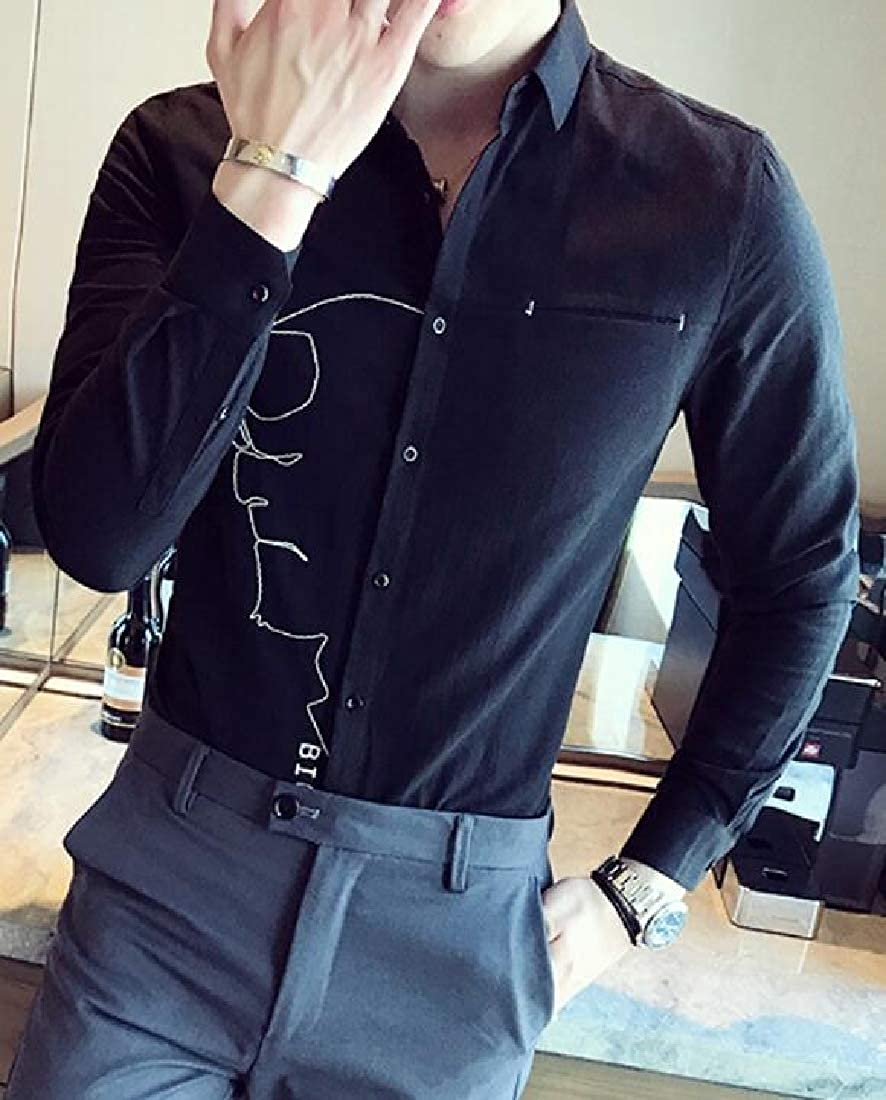 UUYUK Men Casual Stripe Long Sleeve Slim Fit Formal Button Down Blouse Shirt Tops