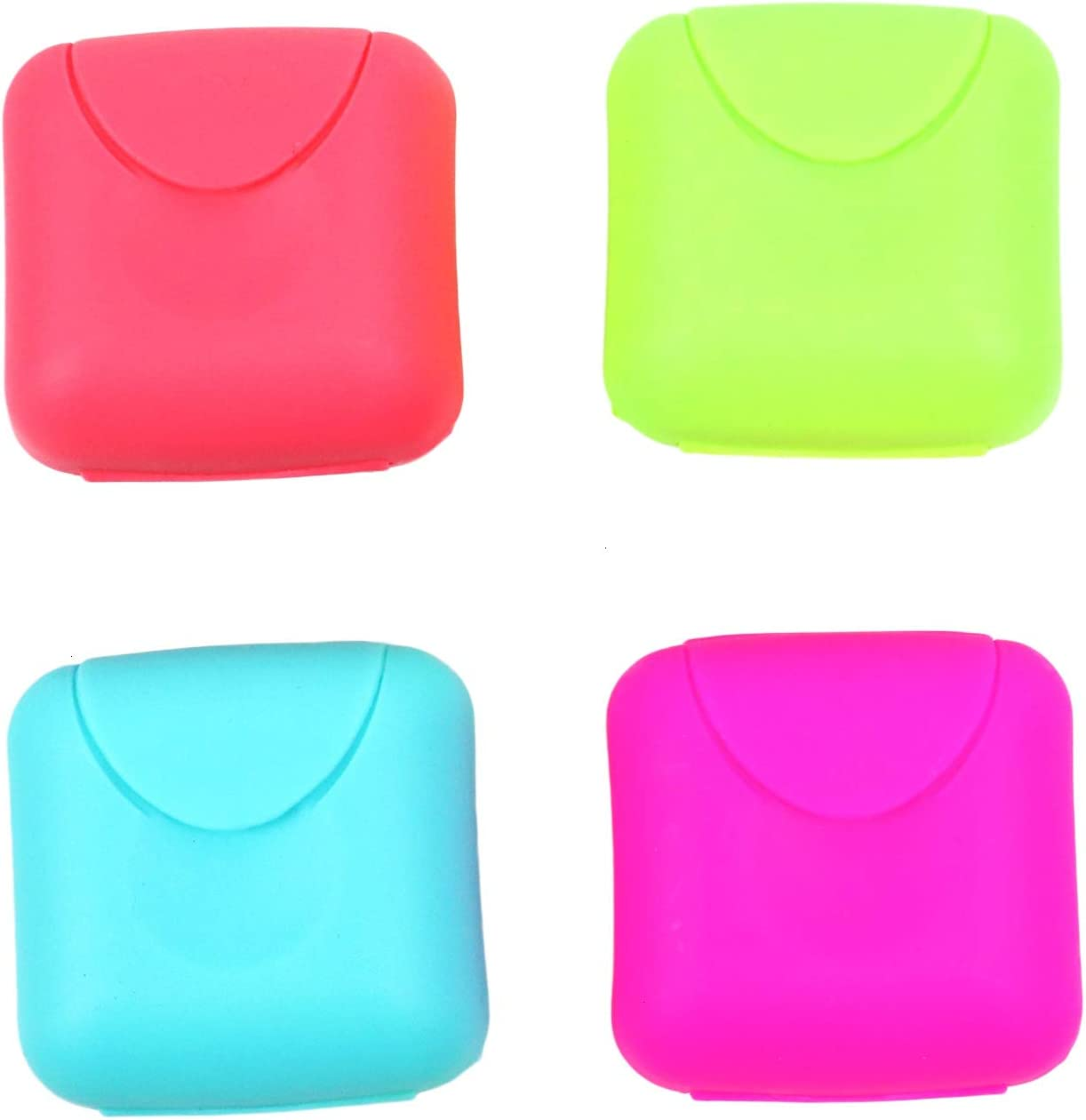 Pomeat 4PCS 4 Colors Small Size Plastic Soap Case, Travel Soap Case Mini Outdoor Hiking Camping Soap Dish Holder Case Container