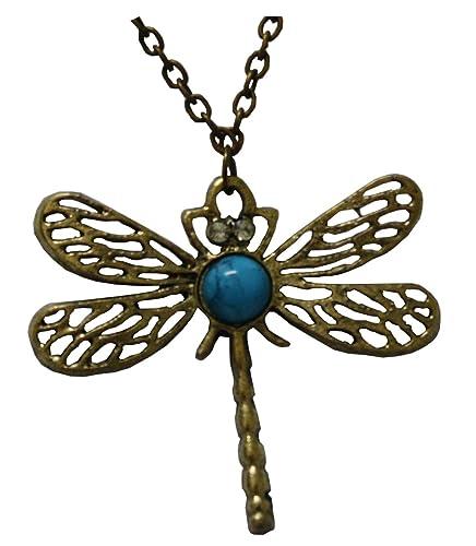 halskette mit libelle anhanger und hellblauem stein metall frei nickel 4 2