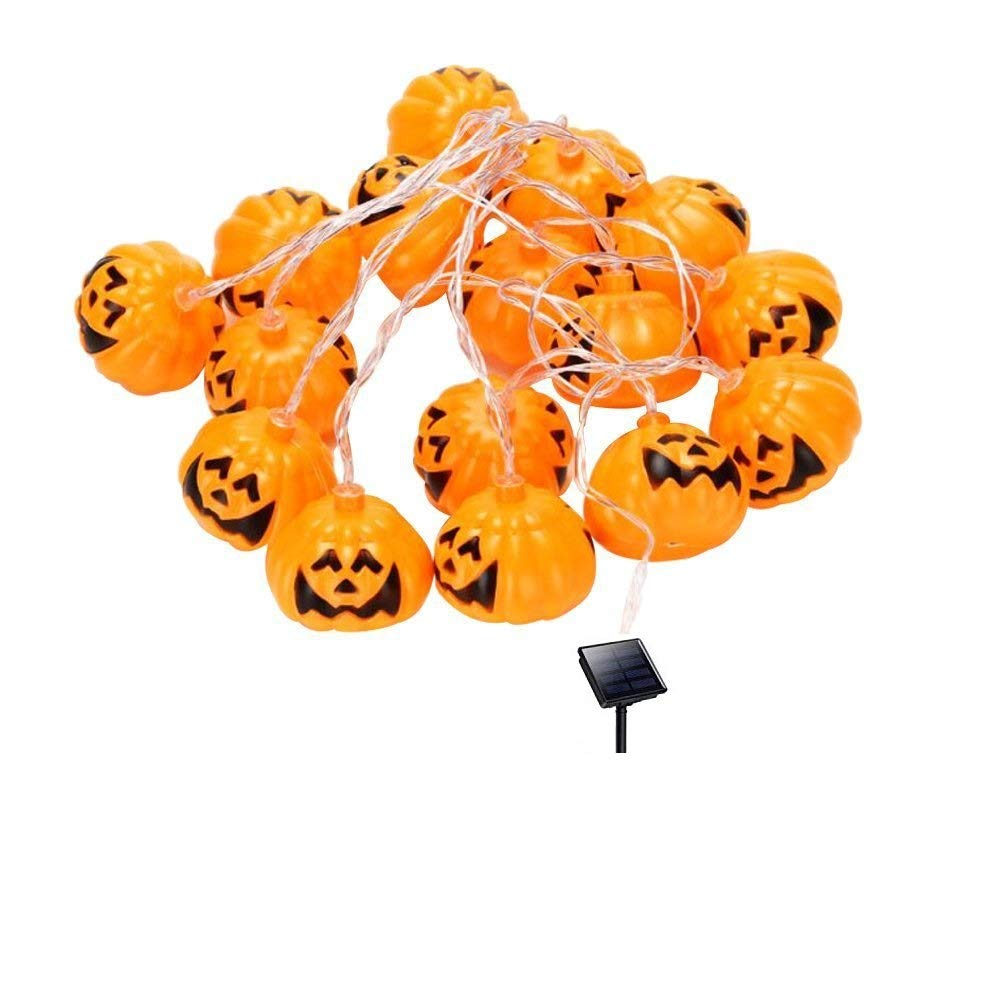TenCloud Pumpkin Solar Lights String Jack-o-lantern Lantern Lamp JACKO'LANTERN with 10 LED Lights Sensor String for All Saints' Day Halloween Party Home Outdoor Decoration