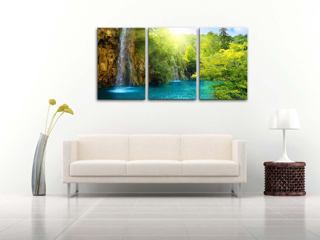 Amazon.com: Waterfall Sunrise Blue Lake Canvas Print Wall Art ...