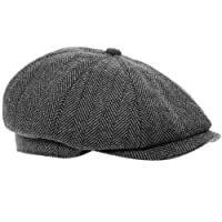 Black Grey Herringbone Newsboy 8 Panel Baker Boy Tweed Flat Cap Mens Gatsby Hat