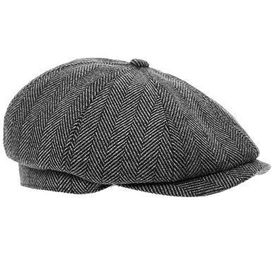 Black Grey Herringbone Newsboy 8 Panel Baker Boy Tweed Flat Cap Mens Gatsby  Hat (57cm 06c66248f86