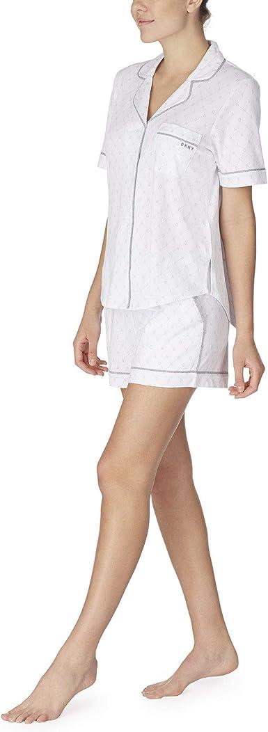 DKNY Conjunto de pijama de punto corto con logotipo de punto ...