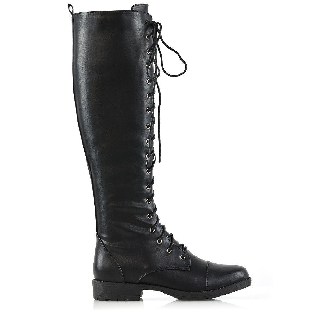 790d2c583dd6b ESSEX GLAM Womens Knee High Lace Up Calf Biker Ladies Black Zip Punk  Military Combat Army Block Heel Boots Size 3-8  Amazon.co.uk  Shoes   Bags