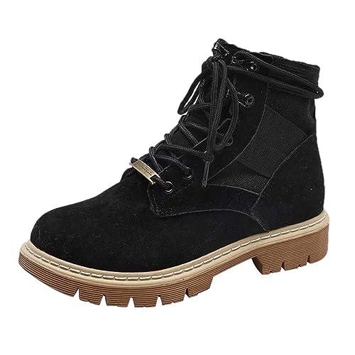 Botines Militares Planos para Mujer Otoño Invierno 2018 PAOLIAN Botas Vaqueras Zapatos de Señora Moda Botas Camperas con Cordones Plataforma Talla Grande ...