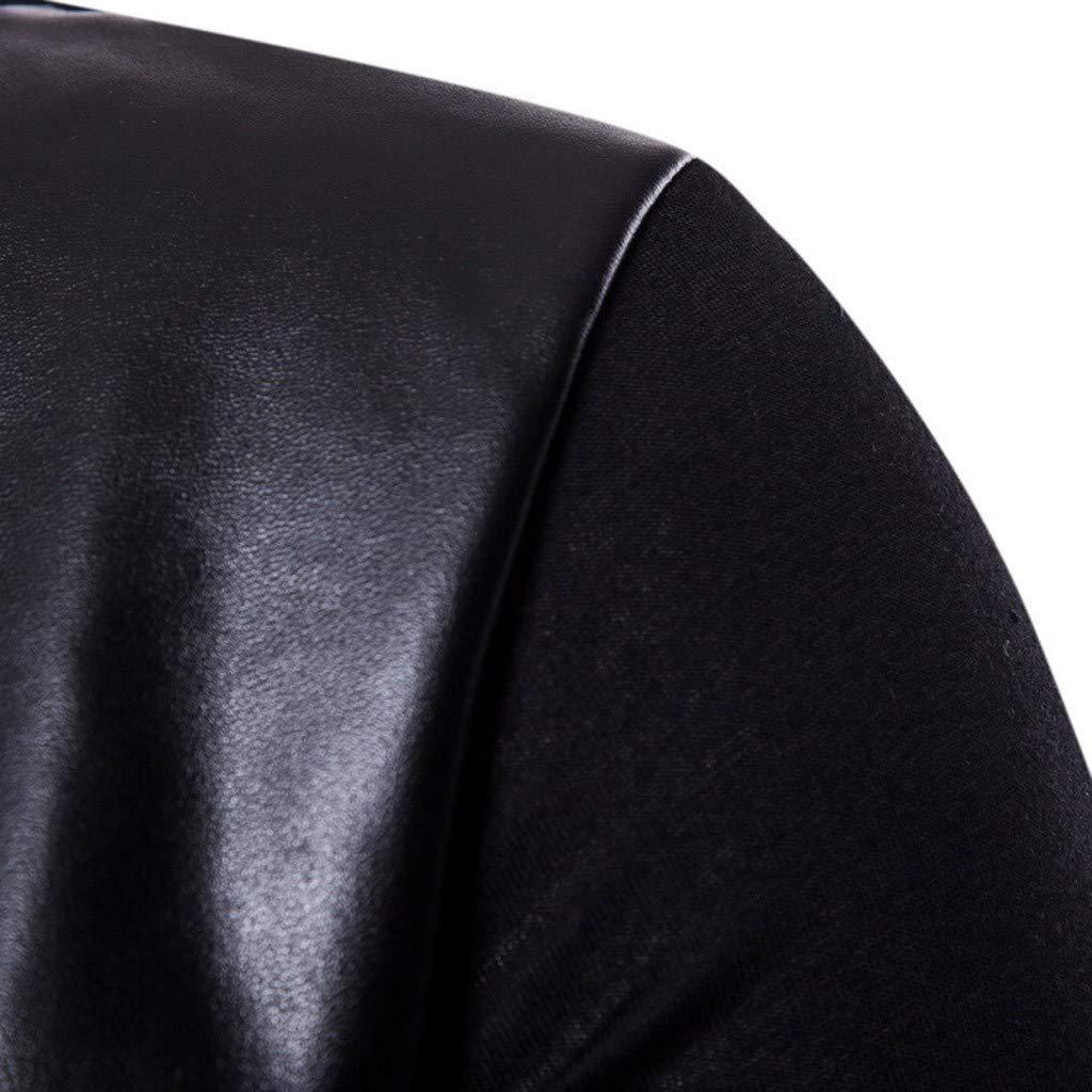 Men Summer Casual Tops Irregular Leather Patchwork Short Sleeve O-Neck T-Shirt Blouses
