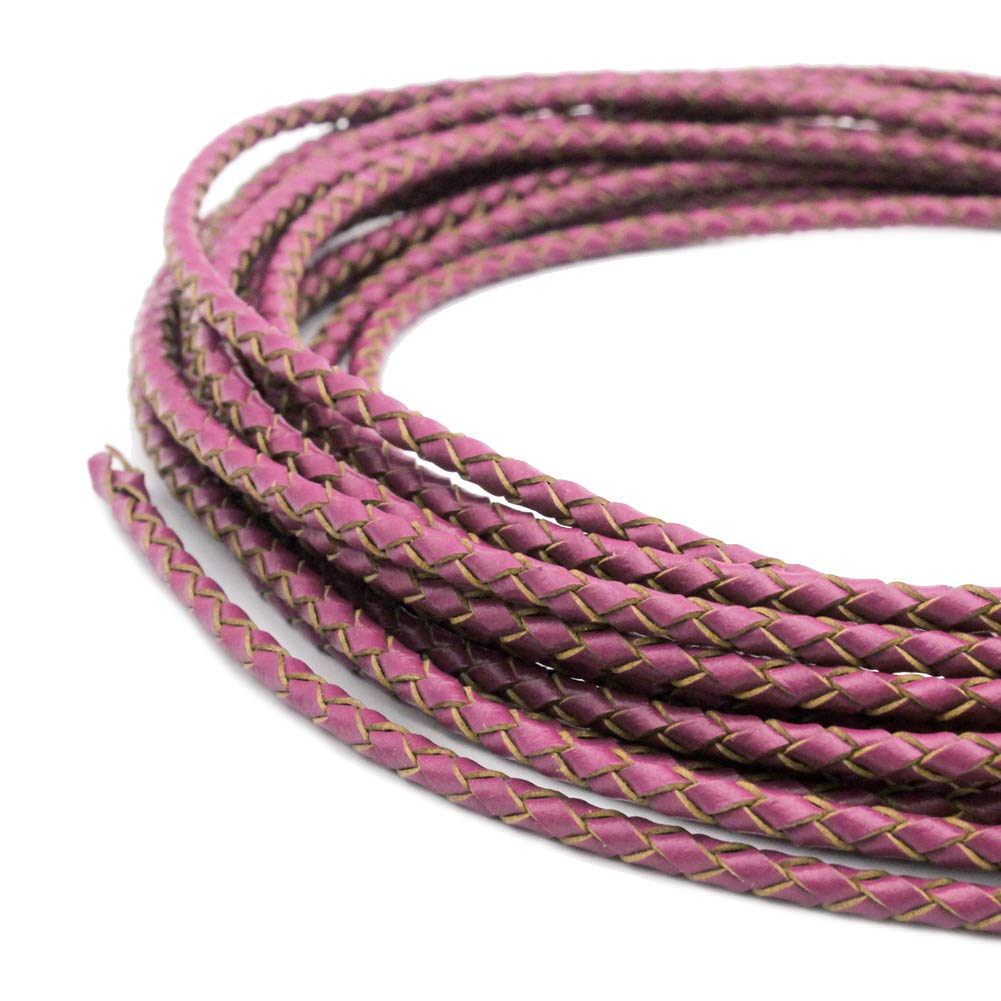 Gold 5 Yards 3mm Braided Leather Strap Round Folded Leather Cord Bracelet Necklace Making Bolo Tie
