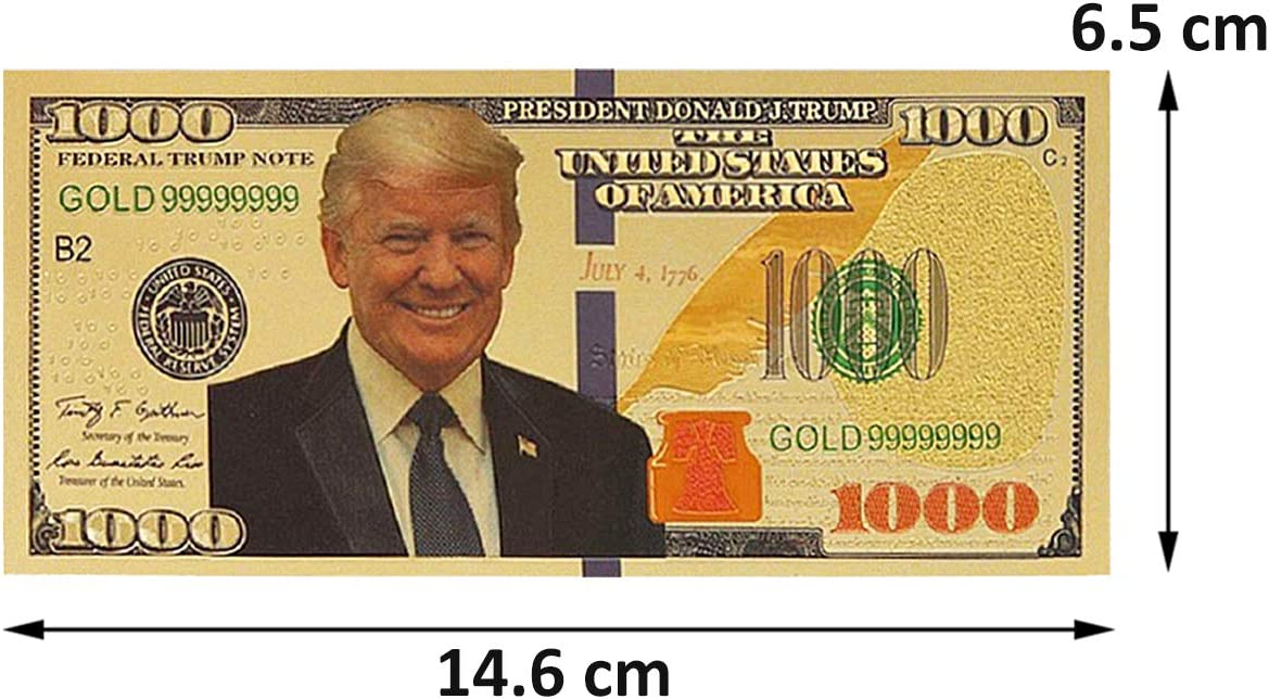 Keep America Great Lechay Pack of 2 $1000 President Donald Trump 24kt Gold Plated Commemorative Bank Note 2020 Re-Election Presidential Dollar Bill,
