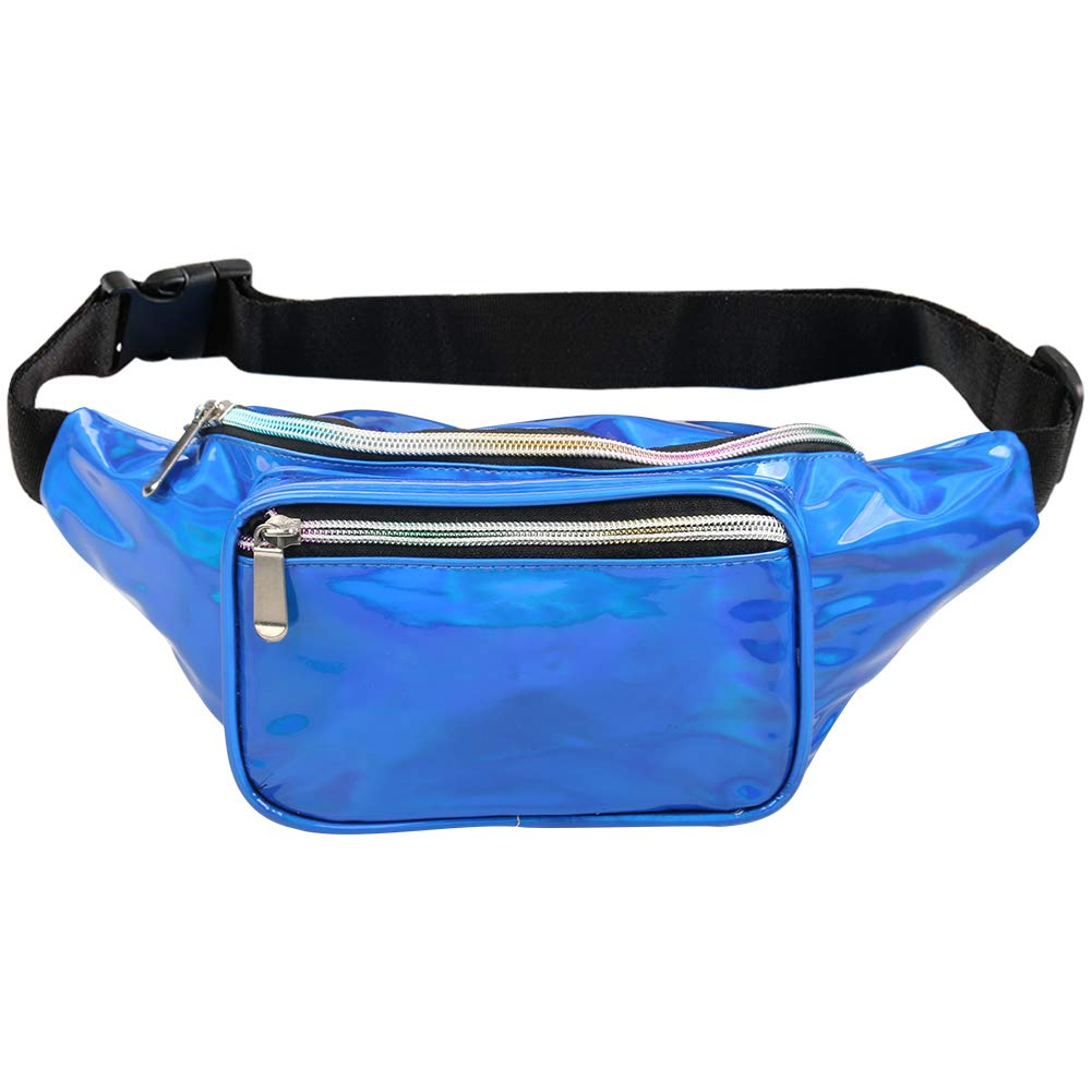 Fotociti Holographic Fanny Pack- Fashion Rave Waist Bag with Adjustable Belt for Women and Men (Holographic Blue) by Fotociti