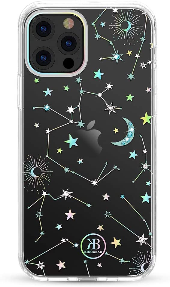 KINGXBAR Holographic Floral Case Compatible with Apple iPhone 12 Pro Max (6.7 inch) with Bling Crystal from Swarovski Cute Clear Full Protective Cover Hard PC Soft TPU Fashion Design Starry Sky