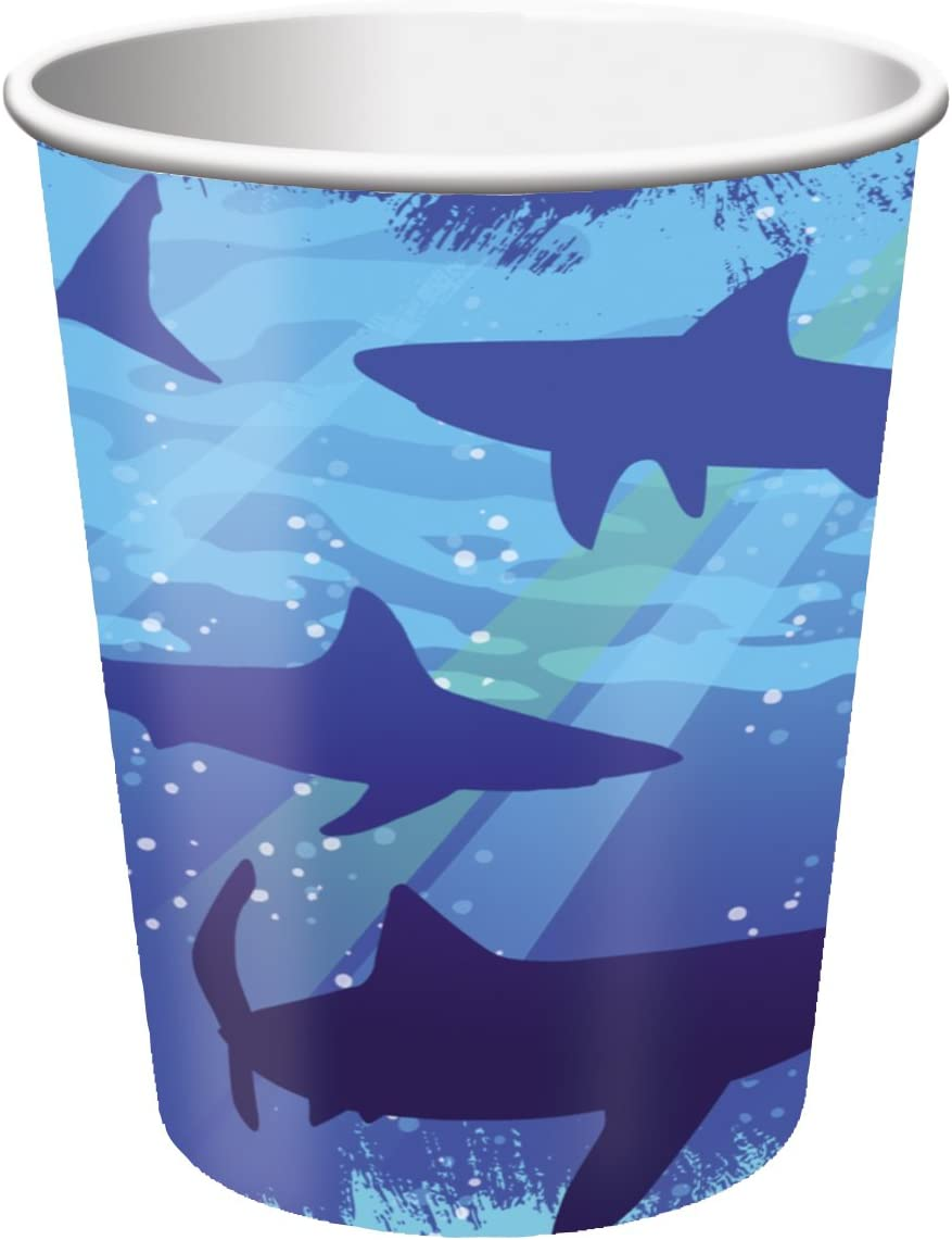 8-Count 9-Ounce Hot/Cold Paper Beverage Cups, Shark Splash