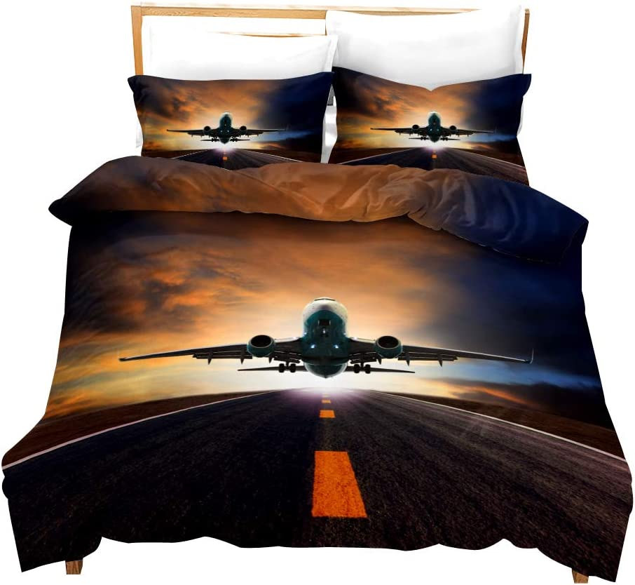 Juego de Cama Aviation Airplane King,Cielo 3D,Funda de edredón de Microfibra de poliéster para Hombre,Transpirable,Cremallera,Suave