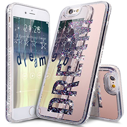 """Price comparison product image iPhone 6S Plus Case,iPhone 6 Plus Case,ikasus Rose Gold Plating Mirror Dream Quicksand Flowing Floating Bling Glitter Sparkle Hard Back Soft TPU Bumper Cover Case for iPhone 6S/6 Plus 5.5"""""""