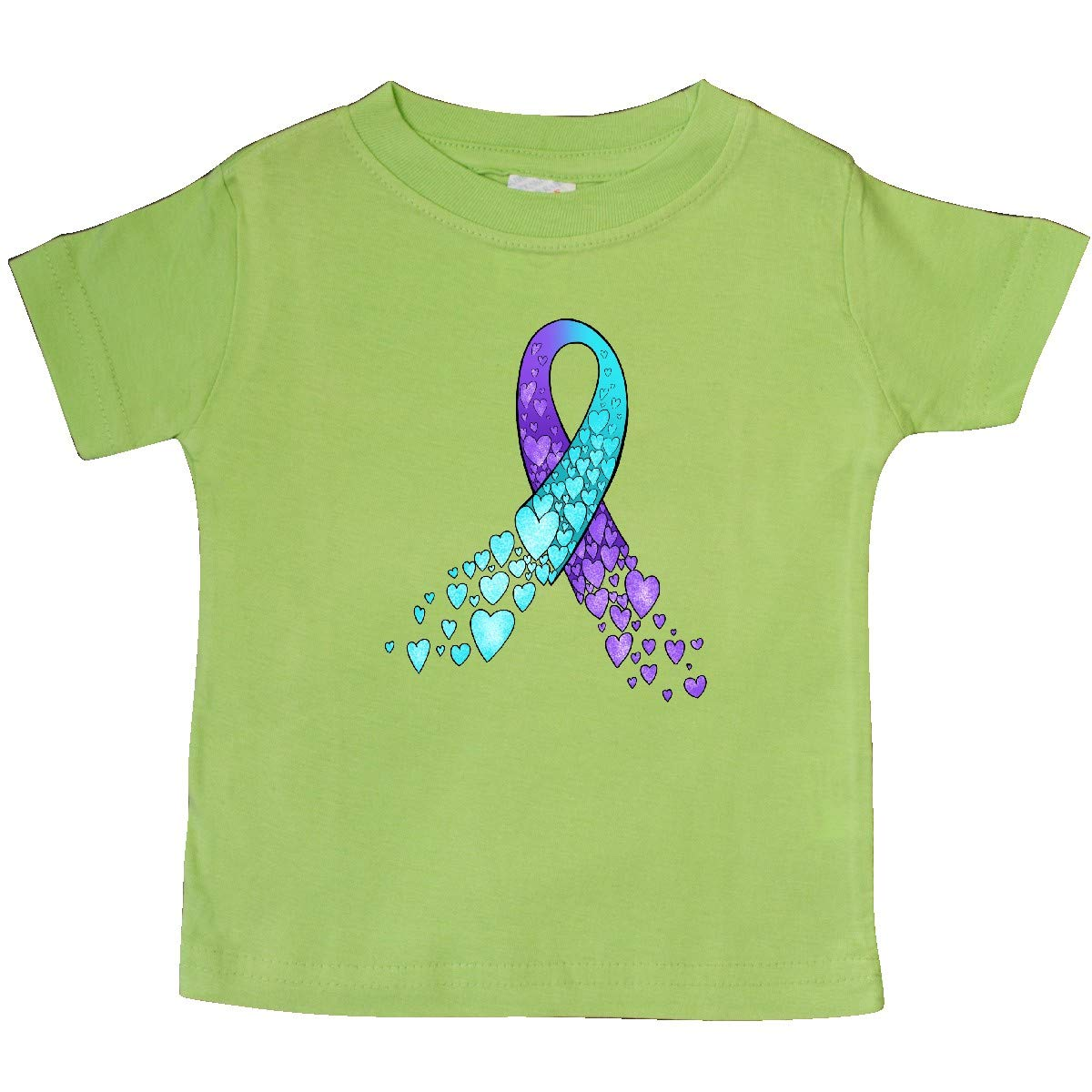 inktastic Suicide Prevention Ribbon with Blue and Purple Hearts Baby T-Shirt