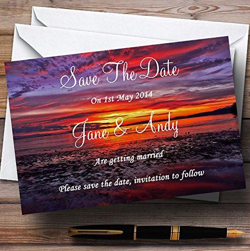 Beautiful Purple Sunset Beach Personalized Wedding Save The Date Cards