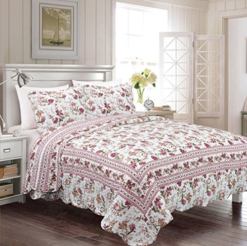 Fancy Collection 3pc Bedspread Bed Cover Floral Off White Green Burgundy Reversible New # jaime (California King)