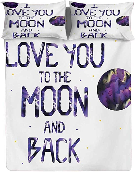Fitted Sheet Twin Size,Universe and Planetary Moon Heart Love Concept Milky Way Stylized Illustration Fitted Sheet Set 3 Piece,1 Fitted Sheet & 2 Pillow Cases,15