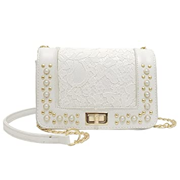02663fb62afa Amazon.com: Snowfoller Flap Shoulder Bag Fashion Women Pearl Decor ...