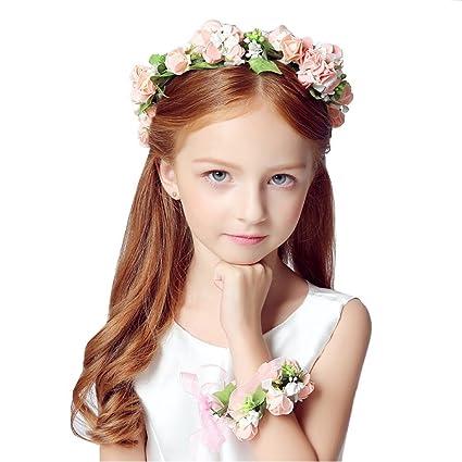 KMALL Rosa bianca coroncina fiori capelli con bracciale fiore per sposa  damigella d onore bambina 8aef93cc6345