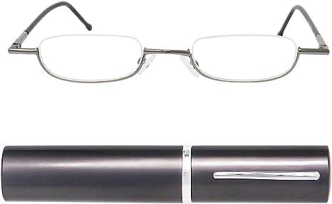 IN OMAGGIO Custodia Compatta in Alluminio Montatura in Acciaio Occhiali Lettura Tascabili Uomo e Donna Diottrie +2.0 Argento Mini Occhiali da Lettura Leggeri