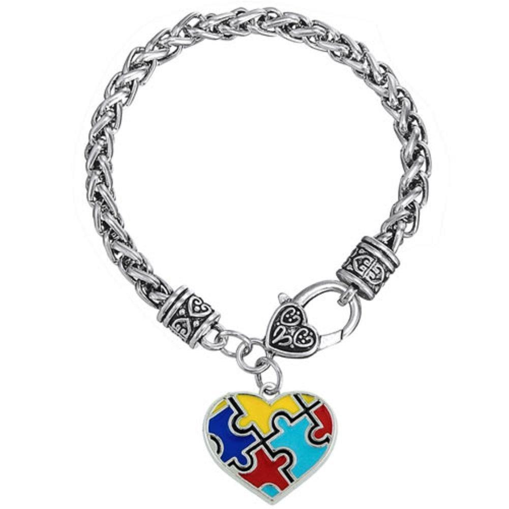 LuckyJewelry Autism Awareness Bracelet Puzzle Piece Jigsaw Classic Charm Bracelets