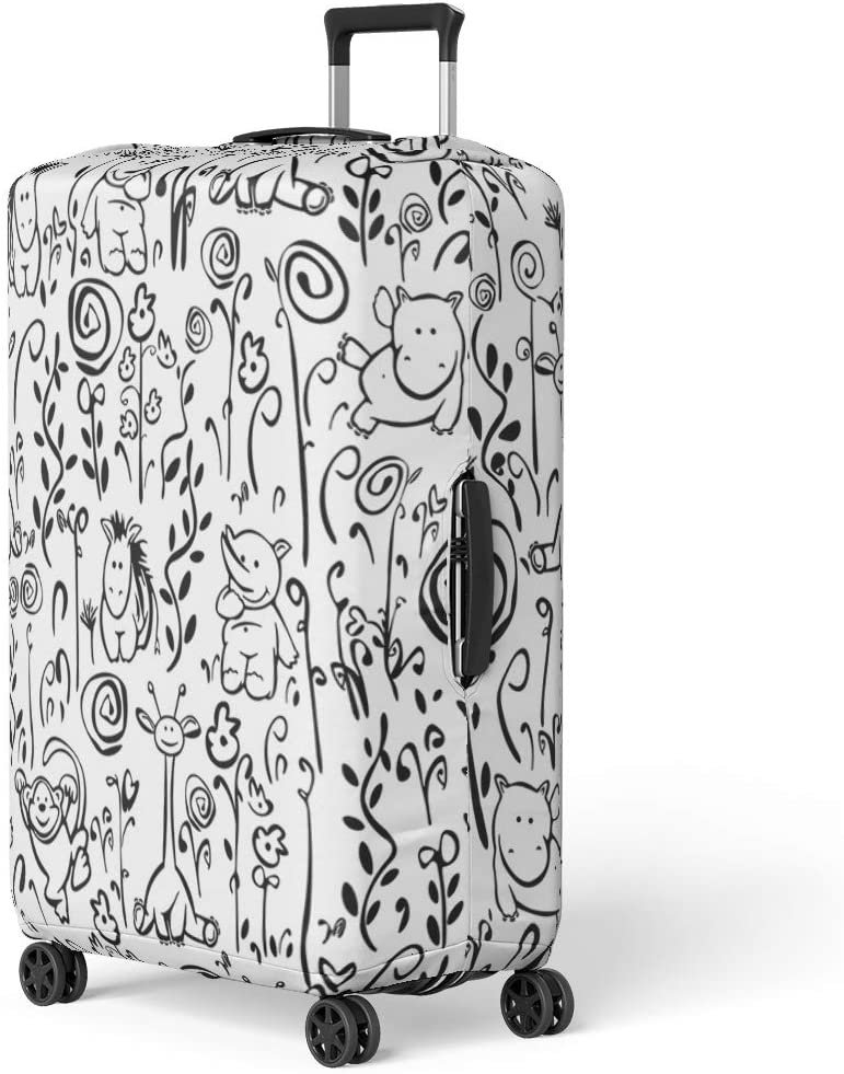 Pinbeam Luggage Cover Jungle Cute Pattern of Flora and Fauna Spring Travel Suitcase Cover Protector Baggage Case Fits 26-28 inches