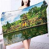 also easy Luxury Elegant Bath Towels Tirta Empul Temple Bali Indonesia Trees Oriental Building Fish Luxury Hotel & Spa Towel L39.4 x W19.7 INCH