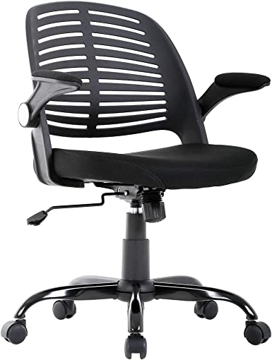 Home Office Chair, Executive Rolling Swivel Ergonomic Chair, Computer Chair with Arms Lumbar Support Task Mesh Chair Heavy Duty Metal Base Desk Chairs for Women, Men Black
