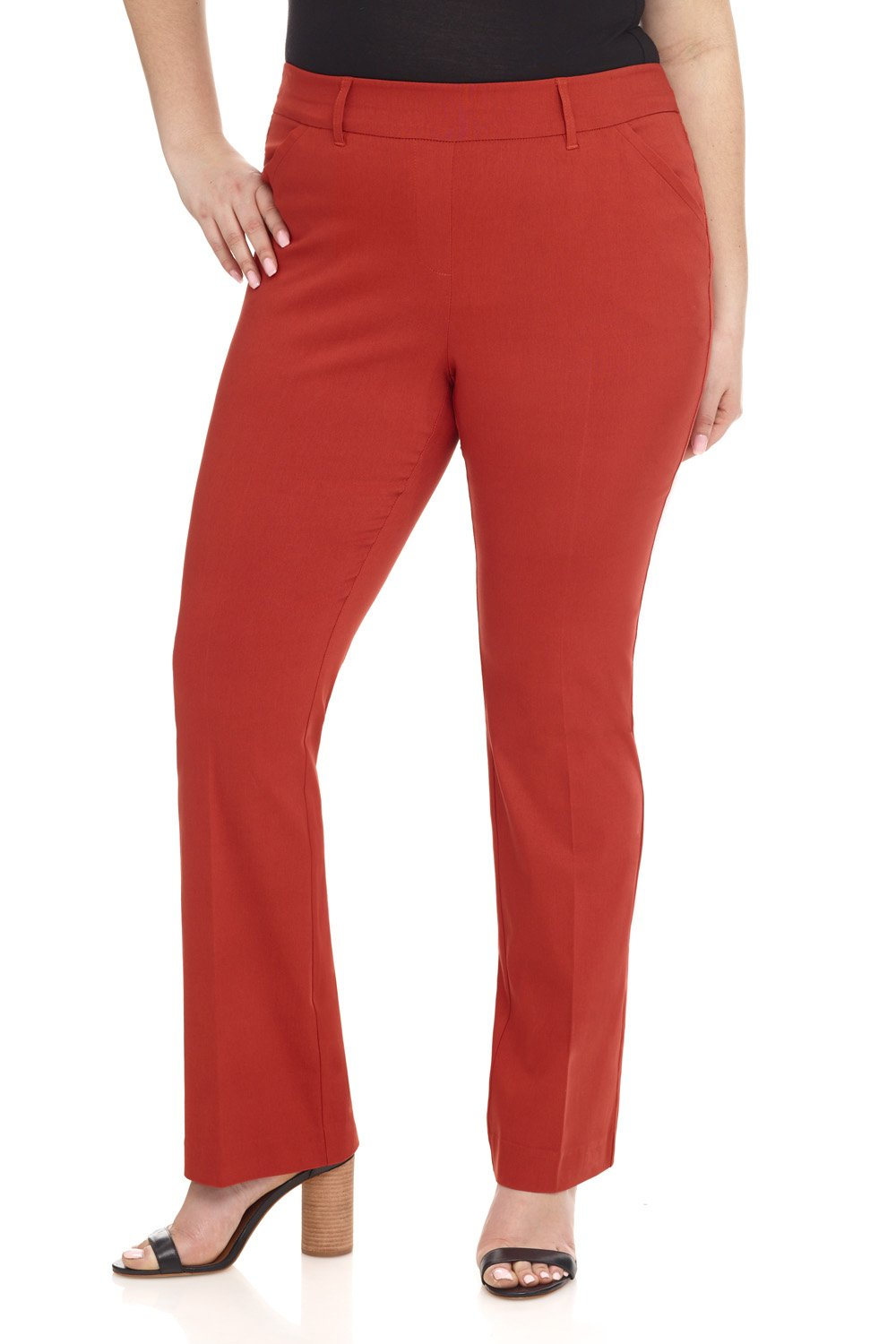 Rekucci Curvy Woman Ease in to Comfort Fit Barely Bootcut Plus Size Pant (20W,Rust)