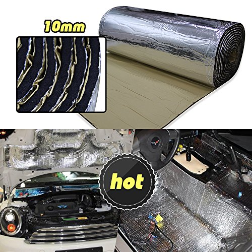 LINGDA 21.53 SqFT 10mm Heat Shield Thermal Sound Insulation Proofing Deadener Mat Car Noise Control Acoustic Dampening Moistureproof Waterproof (20