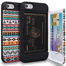 iPhone SE Case, TORU [iPhone SE Wallet Case Pattern Tribal] Protective Slim Fit Dual Layer Hidden Credit Card Holder ID Slot Card Case with Mirror for iPhone SE / iPhone 5S / iPhone 5 - Tribal Aztec