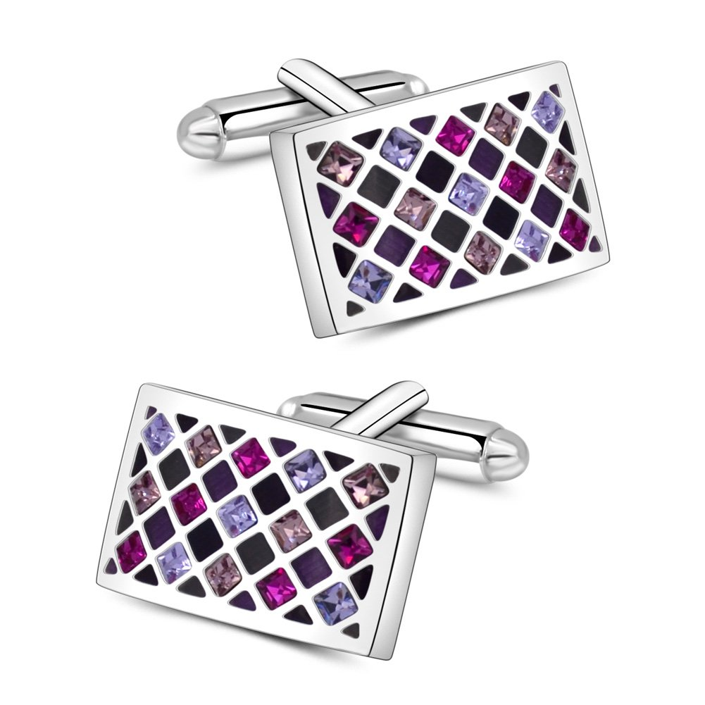 Mr.Van Elegant Swarovski Crystal Cufflinks Purple Groovy Green Glimmering Cuff Links Set Wedding for Men