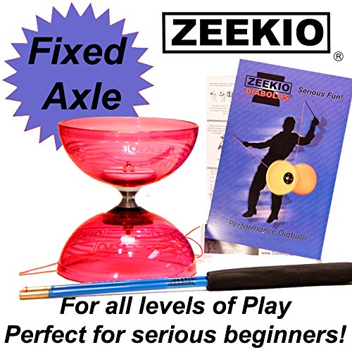 - Zeekio Crystal Series Master Spin Diabolo - Fixed Axle, Durable Transparent cups, Comes with Sticks, String and Instructions - Red