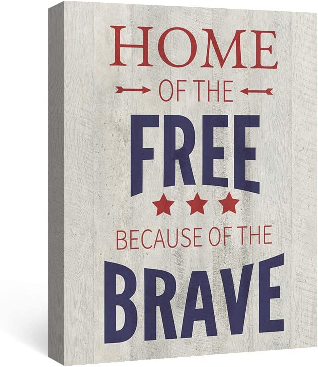 Geeignet Quotes Wall Art Inspirational Picture Motivational Artwork Independence Day Painting Patriotic Sayings Home Decor for Bedroom Living Room, Home of The Free Because of The Brave, 12x16 Inch