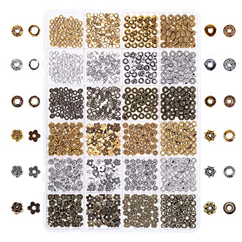 Selizo 800pcs Silver Spacer Beads Jewelry Bead Charm Spacers for Jewelry Making Bracelets Necklace