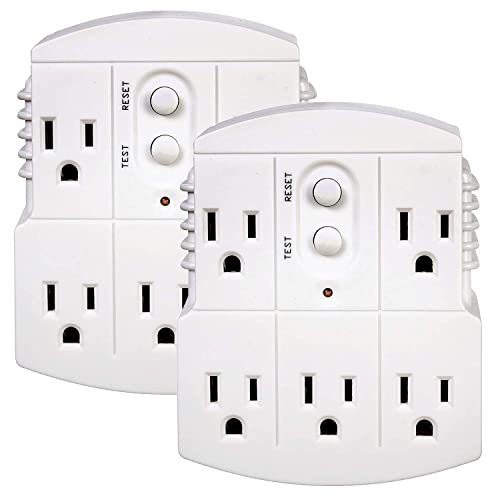 Tower Manufacturing 30440003 Auto-Reset 15 AMP Grounded 3-Prong GFCI 5-Outlet Adapter, White 2 Pack