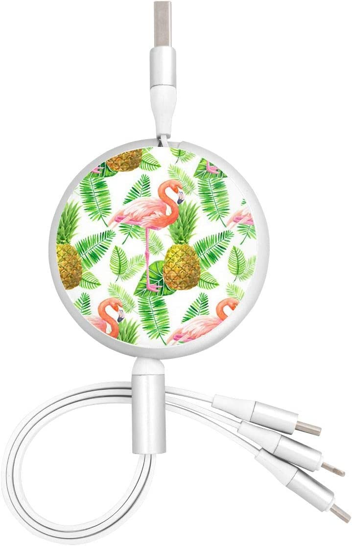 Micro USB Port Connector for Mobile Phones and Tablets Tropical Garden Watercolor Pattern Universal 3 in 1 Multi-Purpose USB Cable Charging Cable Adapter