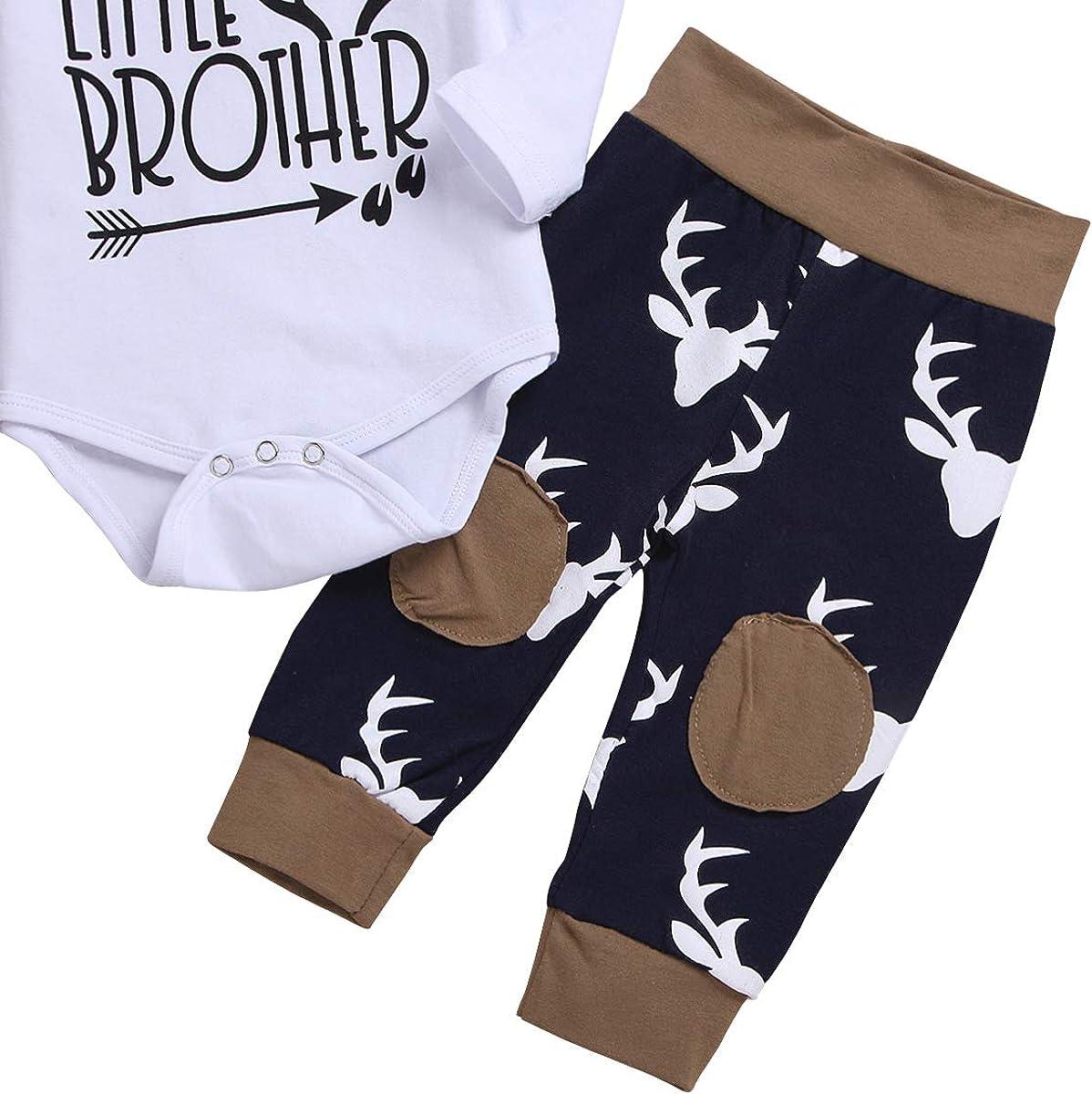 Edjude Newborn Baby Boys Clothing Sets Long Sleeve Outfit Romper Jumpsuit Pants Sets 3Pcs Hat 0-18 Months