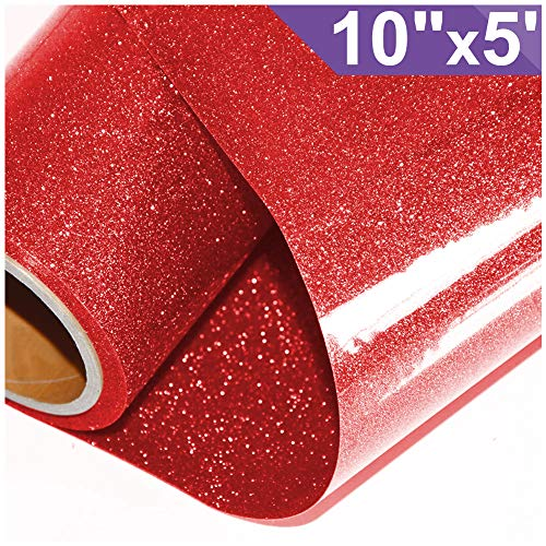 ARHIKY Glitter Heat Transfer Vinyl HTV for T-Shirts 10Inches by 5 Feet Rolls(Red)